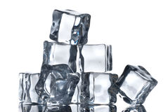 Ice cubes isolated on white Stock Photo