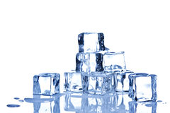 Ice cubes isolated on white background Royalty Free Stock Images