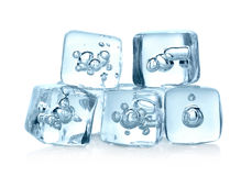 Ice cubes isolated on white background Stock Images