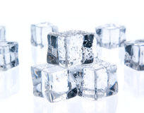 Ice cubes isolated on white Royalty Free Stock Photo