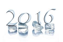 2016 ice cubes isolated on white. Background royalty free illustration