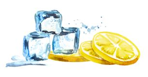 Ice cubes and lemon isolated on white background. Watercolor hand drawn horizontal illustration royalty free illustration