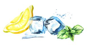 Ice cubes, lemon and mint leaves isolated on white background. Watercolor hand drawn horizontal illustration royalty free illustration