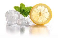 Ice cubes & lemon Stock Photos