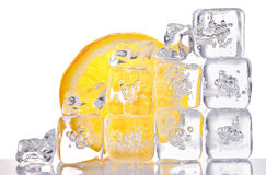Ice cubes and lemon slice Stock Photography