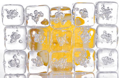 Ice cubes and lemon slice Royalty Free Stock Photo