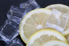 Ice cubes and lemon slices Royalty Free Stock Photo