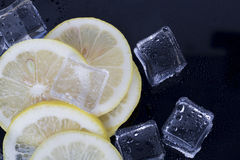 Ice cubes and lemon slices Stock Image