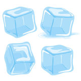 Ice cubes. And melted ice cube vector set on white background stock illustration