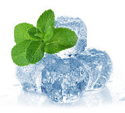 Ice cubes and mint Stock Photos