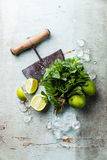 Ice cubes, mint leaves and lime Royalty Free Stock Image