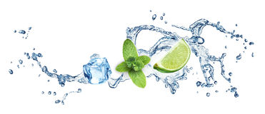 Ice cubes, mint leaves and lime on a white Royalty Free Stock Photo
