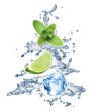 Ice cubes, mint leaves and lime on a white Stock Image