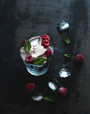 Ice cubes with mint leaves and raspberry in glass Royalty Free Stock Photography