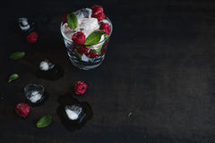 Ice cubes with mint leaves and raspberry in glass on dark grunge surface Royalty Free Stock Images