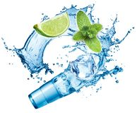 Ice cubes, mint leaves, water splash, lime and glass Royalty Free Stock Photography