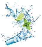 Ice cubes, mint leaves, water splash, lime and glass Stock Photography