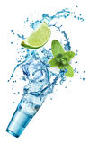 Ice cubes, mint leaves, water splash, lime and glass Stock Image