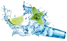 Ice cubes, mint leaves, water splash, lime and glass Royalty Free Stock Image