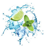 Ice cubes, mint leaves, water splash and lime Royalty Free Stock Photography