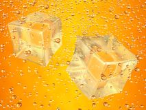 Ice cubes orange. A couple of ice cubes swimming in orange drink. Photorealistic 3D rendering Stock Photo