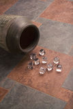 Ice cubes over ceramic tiles Stock Images