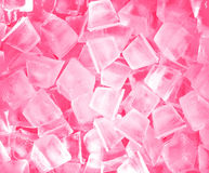 Ice cubes in pink light. Stock Photo