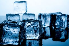 Ice cubes are placed beautifully. Ice color indigo Food and drink concepts suitable for all ages. stock photo