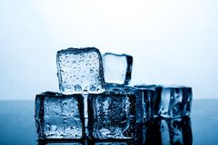 Ice cubes are placed beautifully. Ice color indigo Food and drink concepts suitable for all ages. royalty free stock photography