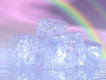 Ice cubes and rainbow - 3D render. Close up on many ice cubes in front of beautiful rainbow royalty free illustration