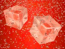 Ice cubes red. A couple of ice cubes swimming in red drink. Photorealistic 3D rendering Royalty Free Illustration