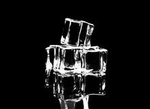 Ice cubes on reflection table on black background Royalty Free Stock Photos