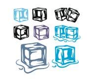 Ice cubes set on white background. Vector illustration Stock Photos