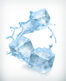 Ice cubes and a splash of water Stock Photos