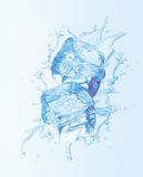 Ice cubes splashing in liquid. On light blue background Stock Illustration