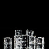 Ice Cubes STacked with Reflections Stock Photo
