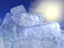 Ice cubes and sun - 3D render. Close up on many ice cubes in front of beautiful sunshine royalty free illustration