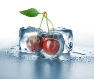 Ice cubes and sweet cherry Royalty Free Stock Image