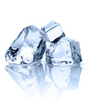 Ice cubes. Three ice cubes with reflection on the white background Stock Photography