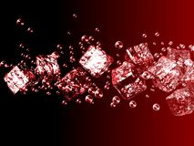 The ice cubes to bubbles on black and red background. Stock Image