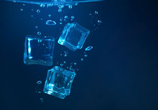 Ice cubes underwater Royalty Free Stock Photography