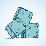 Ice cubes. Vector drawing. Stylized algid gelid glacial bricks icon  on white backdrop. Freehand ink drawn symbol sketchy in art scribble retro style pen on Royalty Free Stock Photography
