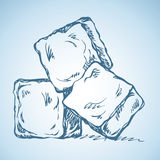 Ice cubes. Vector drawing. Stylized Ice Cubes  on white background. Vector freehand linear ink drawn icon sketchy in art scribble antiquity style pen on paper Royalty Free Stock Photo