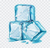 Ice cubes vector. Illustration on white background Royalty Free Stock Photo
