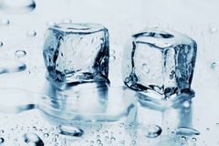 Ice cubes on water Stock Photos