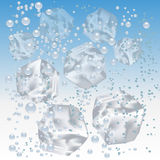Ice cubes. In water on background. Vector illustration royalty free illustration