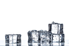 Ice cubes on the water. Some ice cubes on the water and white background stock image