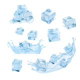 Ice cubes with water Stock Photos
