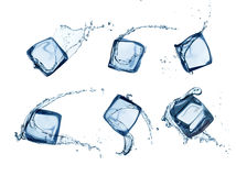Ice cubes in water splashes isolated on white Stock Image