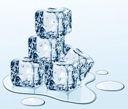 Ice cubes on water surface Stock Photo